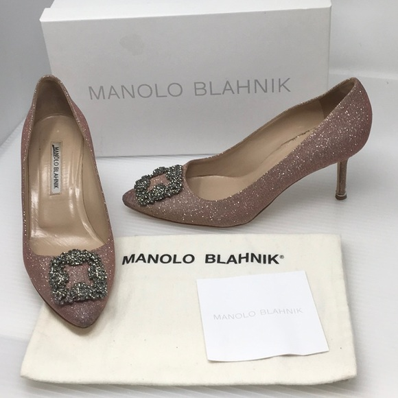 c54d20cc039d4 Manolo Blahnik Shoes | Hangisi Pink Glitter Pump Heels 39 | Poshmark